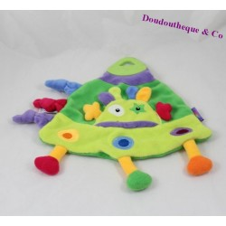 Doudou flat Martian BABYSUN rocket flying saucer green 25 cm triangle
