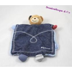 Doudou marionnette ours KALOO Blue Denim bleu jean 25 cm