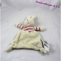 Doudou rabbit flat ZARA HOME rose beige stripes 24 cm