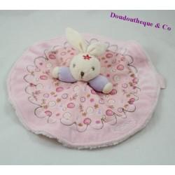 Doudou rabbit KALOO Lilirose round pink and mauve 29 cm dish floral