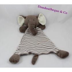 Doudou flat elephant H & M Brown stripes diamond 30 cm