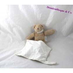 Doudou mouchoir ours TROUSSELIER beige blanc 20 cm