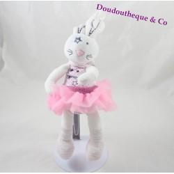 Doudou lapin TAPE A L'OEIL TAO tutu rose étoile pois 32 cm