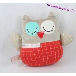 Doudou OWL CHEEKBONE OWL red gray reversible 18 cm