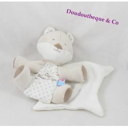 Doudou mouchoir renard SUCRE D'ORGE Cajou étoile blanc beige 19 cm