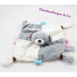 Doudou plat ours DODO D'AMOUR MGM Dodonours gris blanc 4 noeuds 20 cm