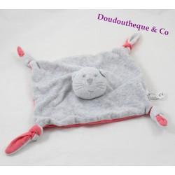 Doudou plat chat BOUT'CHOU gris rose 4 noeuds Monoprix
