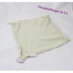 Fabric square flat Doudou striped green and yellow head KIABI bear 26 cm