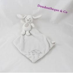 Doudou lapin NICOTOY mouchoir Fait dodo mon petit lapin blanc gris