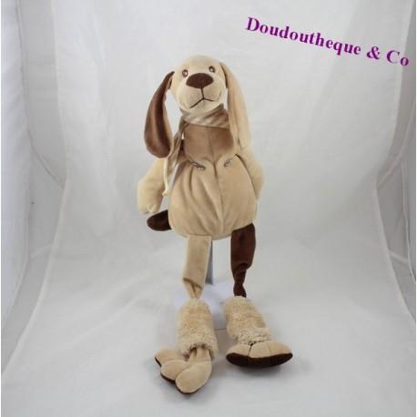 Doudou chien LES PETITES MARIE marron beige longues jambes 50 cm