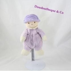 Doudou poupée mauve CMP PARIS chapeau 21 cm