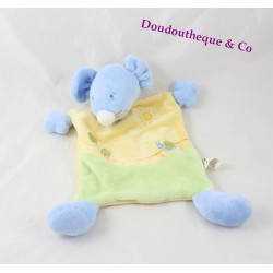 Flat Doudou mouse female snail blue yellow green 24 cm