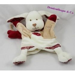 Doudou marionnette chien BABY NAT' Mr Ouaf beige rouge 27 cm