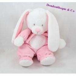 Peluche lapin TEX BABY pois rose blanc écharpe Carrefour 26 cm