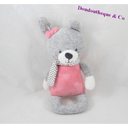 Rattle rabbit TEX BABY Bell gray pink star 20 cm