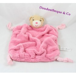 Doudou plat ours KALOO plume rose framboise noeuds tissus