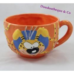 Bol céramique Marsupilami TROPICO DIFFUSION orange jaune noir 1996 Marsu
