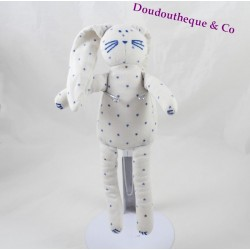 Doudou lapin PETIT BATEAU blanc étoiles bleu 25 cm