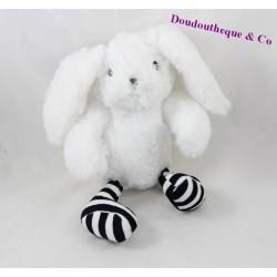 Peluche lapin SEPHORA blanc pattes rayées 26 cm