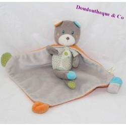 Doudou ours NICOTOY cape orange gris 25 cm