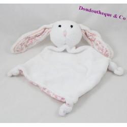 Doudou plat lapin MAISONS DU MONDE blanc rose fleurs 27 cm