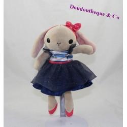 Doudou lapin H&M robe tutu bleu danseuse 25 cm