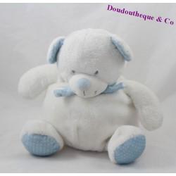 Doudou boule ours TEX BABY blanc bleu écharpe pois 24 cm