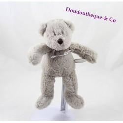 Doudou peluche Florian ours DIMPEL gris beige 20 cm