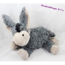 Peluche âne LOUISE MANSEN gris poils long 23 cm