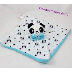 Doudou plat panda KIMADI noeud bleu 24 cm