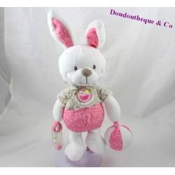 Peluche d'activité lapin MOTS D'ENFANTS rose gris ballon 24 cm
