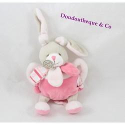 Doudou hochet Célestine lapin DOUDOU ET COMPAGNIE rose grelot 20 cm
