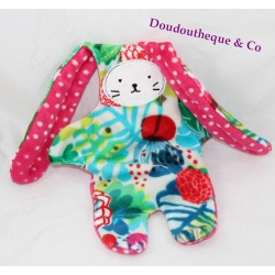 Doudou double faced rabbit pink flowers CATIMINI white pea reversible 38 cm