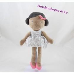 Doudou poupée OBAIBI fille métisse robe grise fleuris brune 27 cm