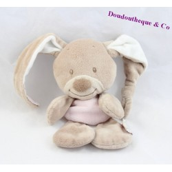 Doudou semi plat lapin NATTOU collection Rigolos beige rose et blanc 22 cm