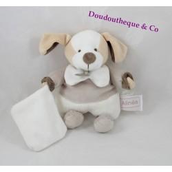 Doudou mouchoir chien Alinéa Doudou et Compagnie beige blanc 18 cm