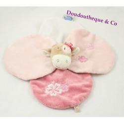 Doudou plat Lola vache NOUKIE'S pétales rose brodés fleurs 28 cm