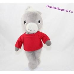 Doudou peluche âne Trotro FLEURUS âne gris t-shirt rouge 32 cm