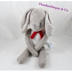 Plush Bunny sleeper OBAÏBI gray scarf red 38 cm