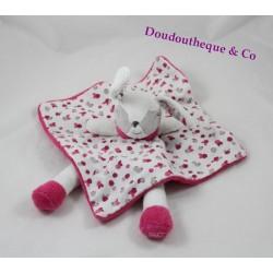 Doudou flat rabbit pink OBAÏBI white hazelnut legs 33 cm