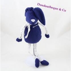 Doudou lapin BOUT'CHOU bleu foncé tissu étoiles Monoprix 30 cm
