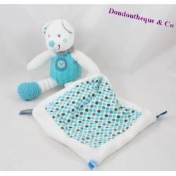 Doudou mouchoir ours NICOTOY Little Hug bleu pois oiseau 20 cm