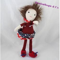 Peluche poupée fille brune jupe fleuries rayures rouge 32 cm