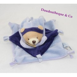 Bear flat Doudou DOUDOU and company blue square knots Harlequin 16 cm