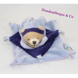 Doudou plat ours DOUDOU ET COMPAGNIE bleu carré noeuds arlequin 16 cm