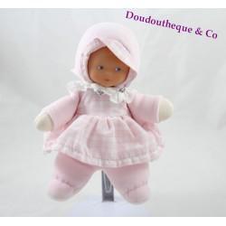 Poupée fille COROLLE rose robe vichy col dentelle grelot 22 cm