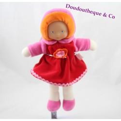 Doudou poupée COROLLE Mademoiselle Grenadine robe rouge 25 cm