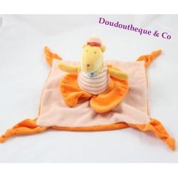 Doudou plat dinosaure TOYS'LAND orange jaune dinosaure marin 27 cm