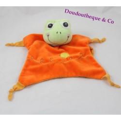 Doudou marionnette grenouille LAPTITEGRENOUILLE.COM orange