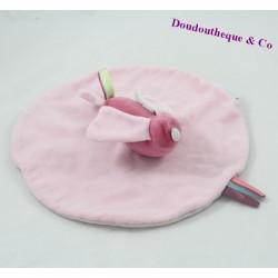 Doudou flat round JACADI bird pink 25 cm